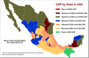 Poverty in Mexico - GDP by State in US Dollars (2008)