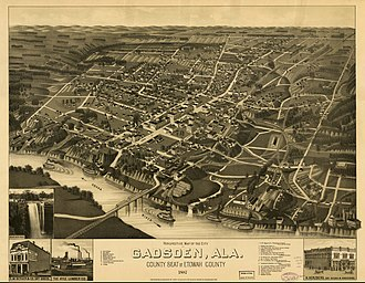 Gadsden, Alabama - Perspective map of Gadsden in 1887