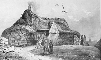 Icelandic cuisine - A fisherman's hut in Reykjavík in 1835 with fish hung outside for drying. Wind-dried fish remains popular in Iceland.