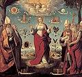 Garofalo, Benvenuto Tisi da — The Virgin Mary, the Holy Trinity, the Church Fathers and symbols of Mary — 1525-1530.jpg