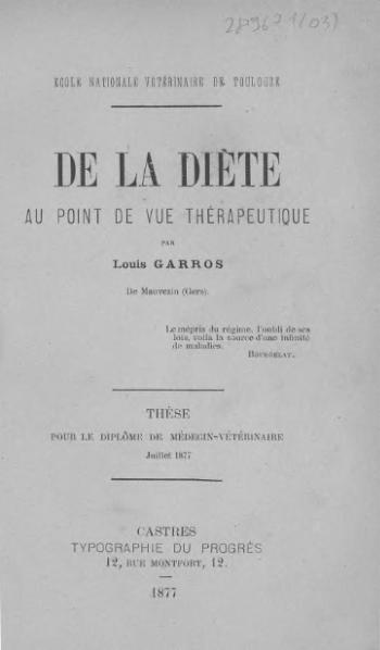 File:Garros - De la diète au point de vue thérapeutique.djvu