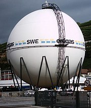 A spherical gas container typically found in refineries