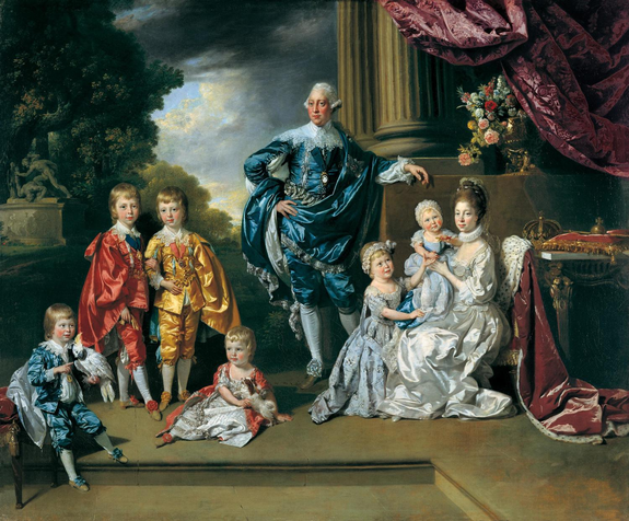 King George III with his consort Queen Charlotte and their six eldest children, by Johan Zoffany, 1770