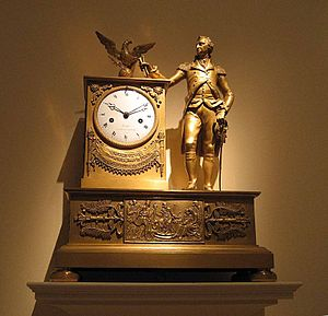 French Empire mantel clock - C. 1810-1815 piece presenting George Washington in full military dress. Metropolitan Museum of Art.