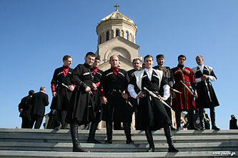 Georgian men in national costumes.jpg