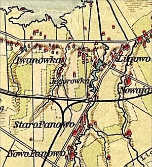 Ligovo - Map of Ligovo with dam, lake, village and railway station in 1900s