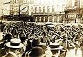 Germans crossing Place Charles Rogier, Brussels, Belgium, August 20, 1914 (29586658740).jpg