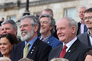 Sinn Féin - Under the political leadership of Gerry Adams and Martin McGuinness, Provisional Sinn Féin adopted a reformist policy, eventually leading to the Good Friday Agreement.