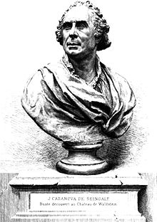 Etching of a bust of Giacomo Casanova, dated to 1883.