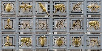 "London School of Hygiene & Tropical Medicine - The ""Gilded Vectors of Disease"" on the front of the building"