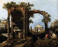 Giovanni Antonio Canal, il Canaletto - Capriccio with Classical Ruins and Buildings - WGA03970.jpg