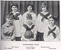 Girls Sophomore Basketball Team in 1915, Kipikawi Yearbook 1915 from Racine High School, Racine, Wisconsin, USA (page 47 crop).jpg