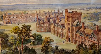 Girton College, Cambridge - Water colour by the architect of Girton College Alfred Waterhouse