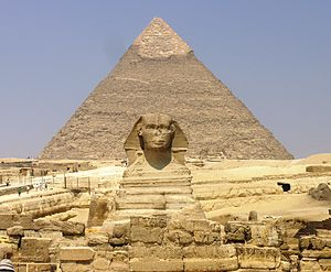 Muslim conquest of Egypt - Image: Giza Plateau Great Sphinx with Pyramid of Khafre in background