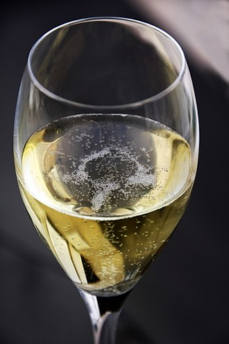 Sparkling wine - A glass of Champagne.