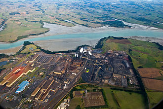 New Zealand Steel - The Glenbrook Steel Mill from the air.