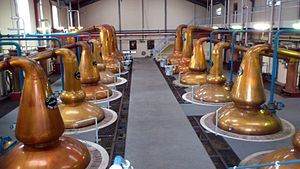 Glenfiddich - Swan necked copper stills in the distillery.