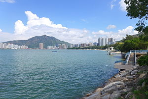 Golden Beach (Hong Kong) - A submerged lifeguard tower is visible at right, illustrating the sand loss problem.