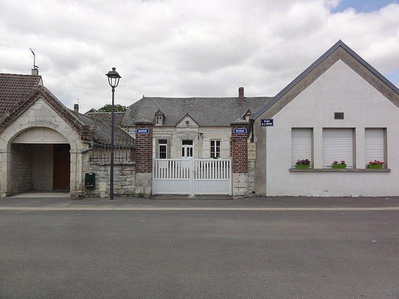 Goudelancourt-lès-Pierrepont (Aisne) mairie-école