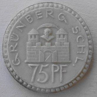 Coinage metals - Image: Grünberg in Schlesien, Zielona Góra, 1922, 75 Pf, Burg, Keramik