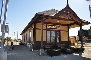Barrie line - The Aurora station building is a federally designated heritage site