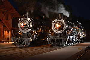 Grand Canyon Railway - GCRX Engines 29 and 4960 at Grand Canyon Depot, 2005.