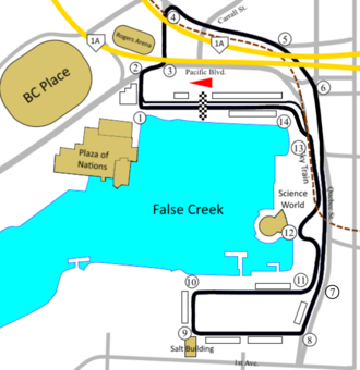 Molson Indy Vancouver - Vancouver circuit from 1999-2004 which removed the chicane at the old Turn 7 and added a chicane at Turn 13.