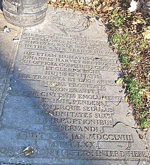 Ledger stone - Grave slab, St Martin's Churchyard Lincoln 1711/1758