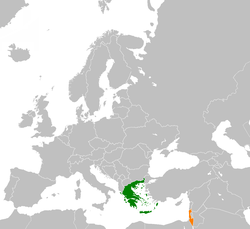 Map indicating locations of Greece and Israel