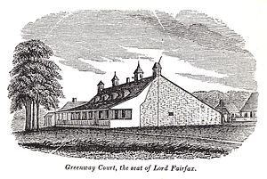 Thomas Bryan Martin - An early 19th-century engraving of the main house at Greenway Court