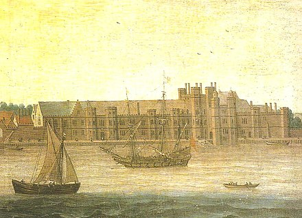 Greenwich Palace (anonymous), from a window of which Elizabeth waved to the departing ships Greenwich Palace (anonymous).jpg