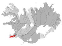 Grindavík beliggende på et kort over Island