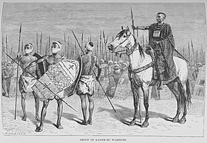 Bornu Empire - Kanembu warriors and their mounted chief in an illustration from Heinrich Barth's Travels and Discoveries, Vol. III, 1857.