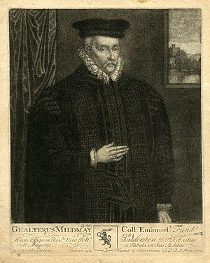 John Faber Sr. - Mezzotint portrait of Sir Walter Mildmay, founder of Emmanuel College, Cambridge, by John Faber Senior.
