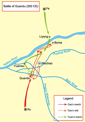 Battle of Guandu - A map of the battle. It shows the movements during the battles of Boma and Yan Ford. Flanking attempts are not shown. Note that the Yellow River has changed course over the centuries and the places depicted are no longer at the same locations relative to the river.