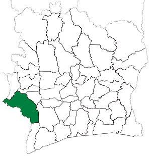 Guiglo Department - Image: Guiglo Department locator map Côte d'Ivoire (1988 95)