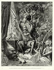 An engraving by Gustave Doré of a scene from Miguel de Cervantes's Don Quixote, the most influential work of literature from the Spanish Golden Age in the Spanish literary canon. The scene illustrated here occurs early in the novel, when Alonso Quixano (Quixote's real name) has become obsessed with books of chivalry, and believes their every word to be true, despite the fact that many of the events in them are clearly impossible. Don Quixote was published in two separate volumes, ten years apart. It is considered a founding work of modern Western literature, and it regularly appears high on lists of the greatest works of fiction ever published.