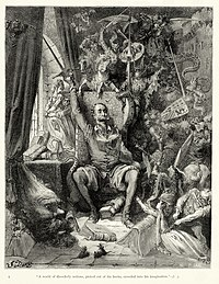 """Gustave Doré - Miguel de Cervantes - Don Quixote - Part 1 - Chapter 1 - Plate 1 """"A world of disorderly notions, picked out of his books, crowded into his imagination"""".jpg"""