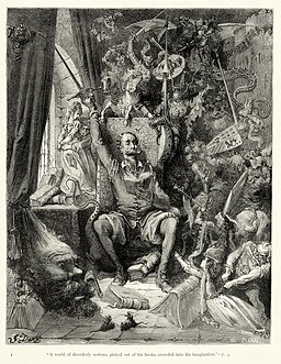 "Gustave Doré - Miguel de Cervantes - Don Quixote - Part 1 - Chapter 1 - Plate 1 ""A world of disorderly notions, picked out of his books, crowded into his imagination"""