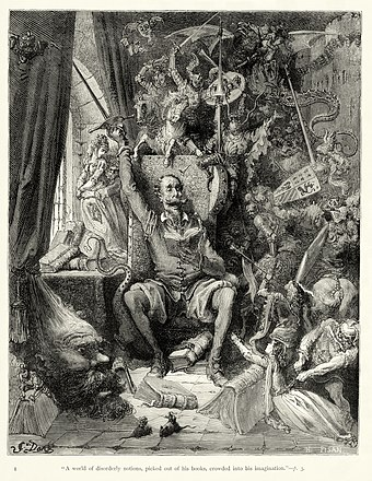 Don Quixote goes mad from his reading of books of chivalry. Engraving by Gustave Doré.