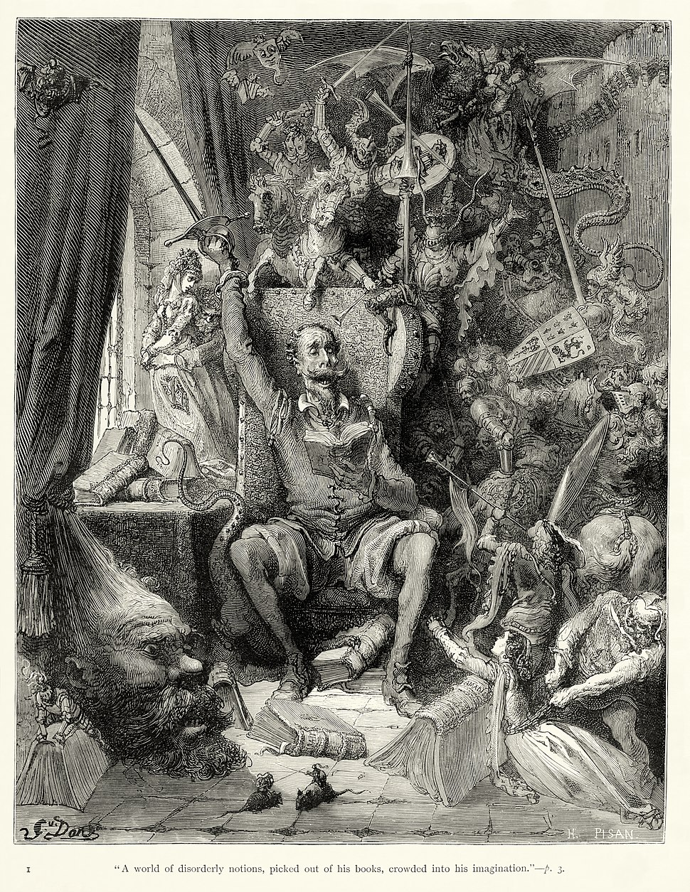 """Gustave Doré - Miguel de Cervantes - Don Quixote - Part 1 - Chapter 1 - Plate 1 """"A world of disorderly notions, picked out of his books, crowded into his imagination"""""""