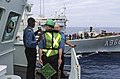 HMCS Summerside conducts a light-line transfer with Belgian ship BNS Godetia during TJ15 (22603405676).jpg