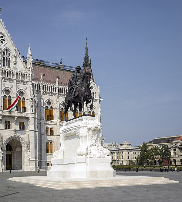 Statue of Gyula Andrássy, next to the Hungarian Parliament Building.