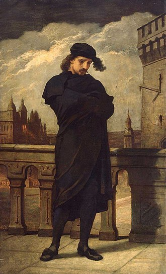 Protagonist - Shakespeare's Hamlet, Prince of Denmark. William Morris Hunt, oil on canvas, circa 1864