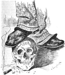 "Political cartoon, showing the ankles and feet of a man; the suit trousers are labeled ""Hanna"" and are covered with dollar signs.  One foot rests on a skull, marked ""Labor"".  Resting on the ground near the skull is a burning cigar."