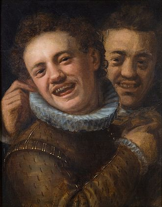 Hans von Aachen - Two Laughing Men (Self-portrait), before 1574