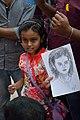 Harshita Roy with Her Portrait - Street Portrait Session - 40th International Kolkata Book Fair - Milan Mela Complex - Kolkata 2016-02-02 0419.JPG