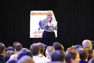 Hattie Hayridge - Hayridge at the 2009 Red Dwarf Dimension Jump convention in Birmingham.