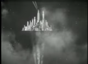 Floating city (science fiction) - The Hawkmen's floating metropolis Sky City depicted in Flash Gordon (1936)
