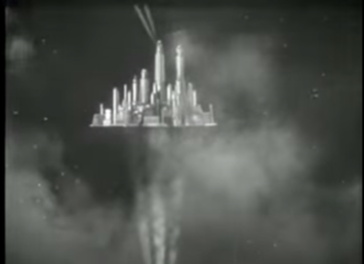 Floating cities and islands in fiction - The Hawkmen's floating metropolis Sky City depicted in Flash Gordon (1936)